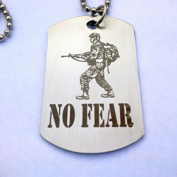 No Fear with Soldier Stainless Steel Tag Necklace