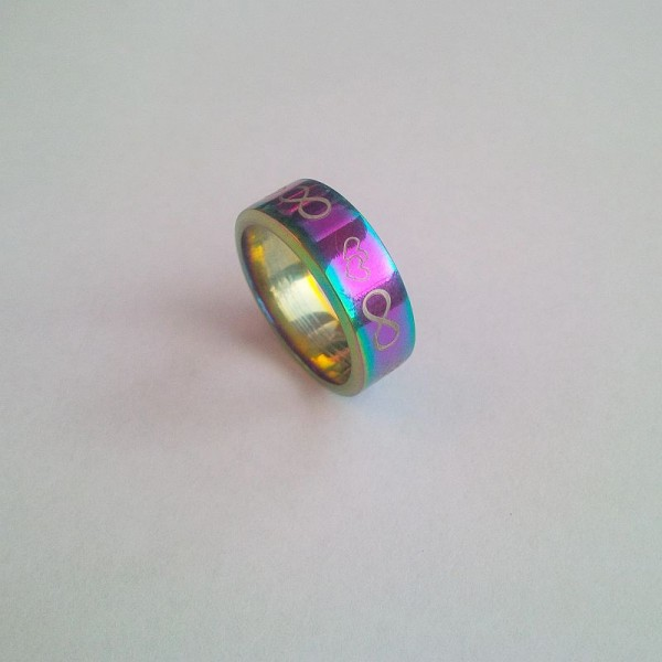 Stainless Steel Infinity and hearts Ring-Multi Shaded