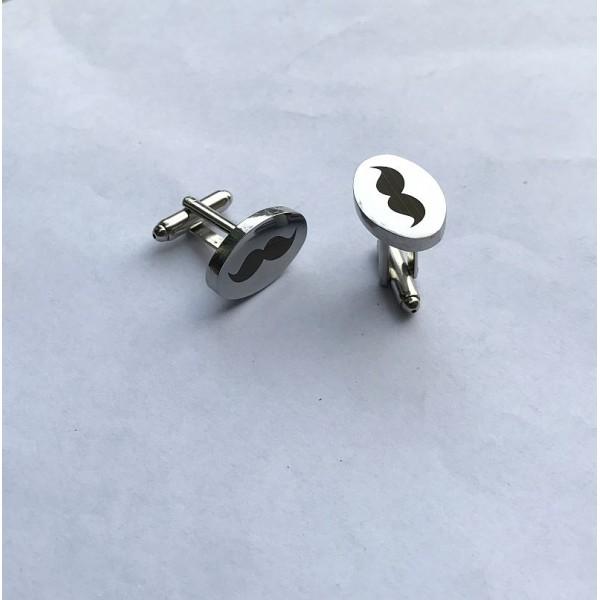 Mustache Oval Cufflinks-Silver Plated