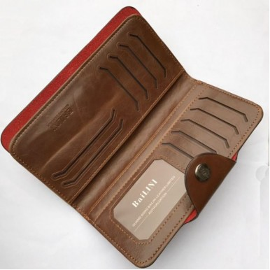 Leather Bifold Clutch Wallet with Multi Pockets