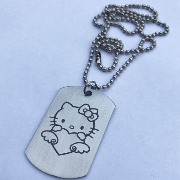 Kitty Love Stainless Steel Tag Pendant with Ball Chain