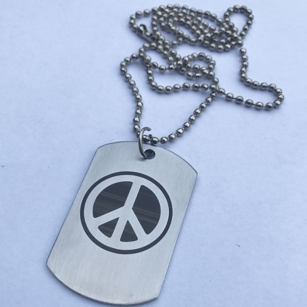 Peace Sign Tag Pendant with Ball Chain