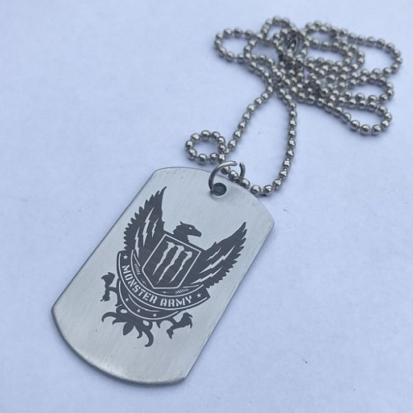 Monster Army Tag Pendant with Ball Chain