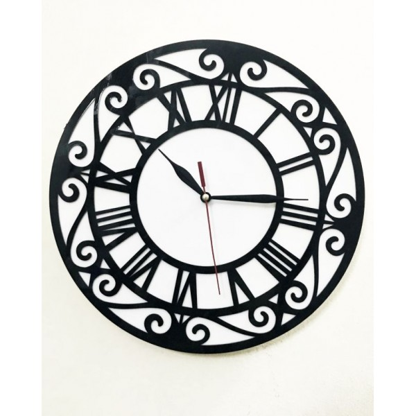 Elegant Round Black and White Acrylic Wall Clock