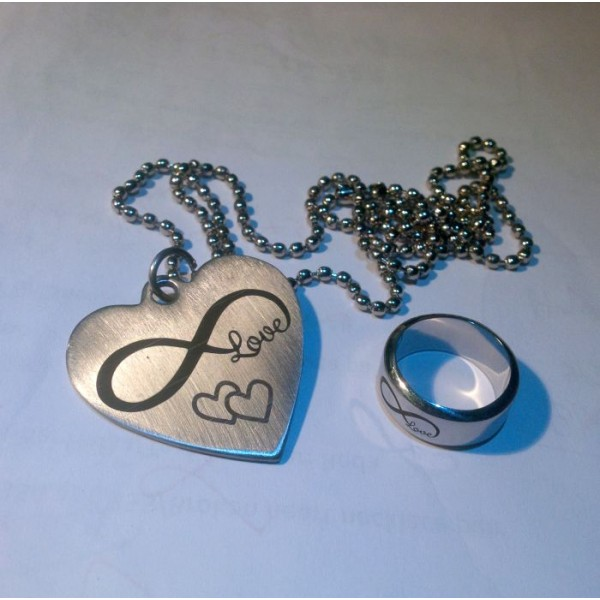 Infinity Heart Pendant and Ring Set - Stainless Steel
