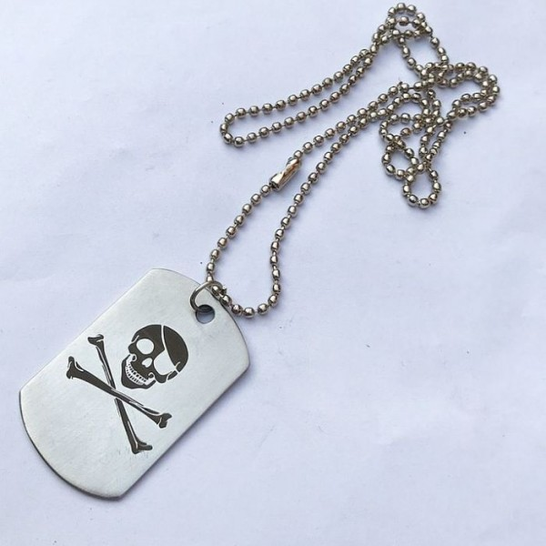 Jolly Roger Skull Printed Dog-Tag Pendant