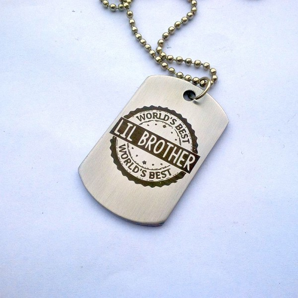 Worlds Best LIL Brother Stainless Steel Tag