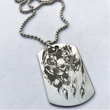 Attacking Lion Head Tag Pendant with Ball Chain