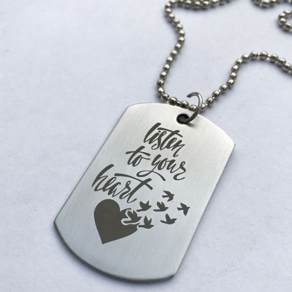 Listen to your Heart Tag pendant with Ball Chain