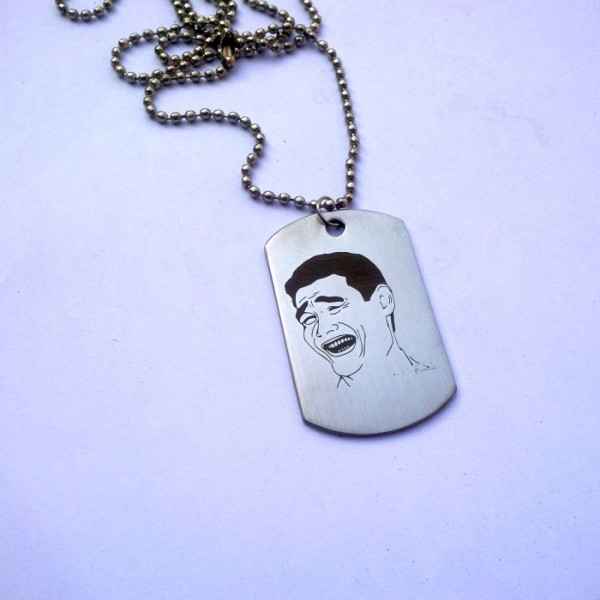 Yao Ming Face Tag Pendant - Stainless Steel