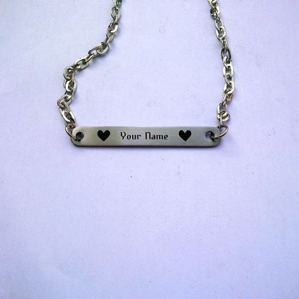 Personalised Name Bar Pendant-Stainless Steel