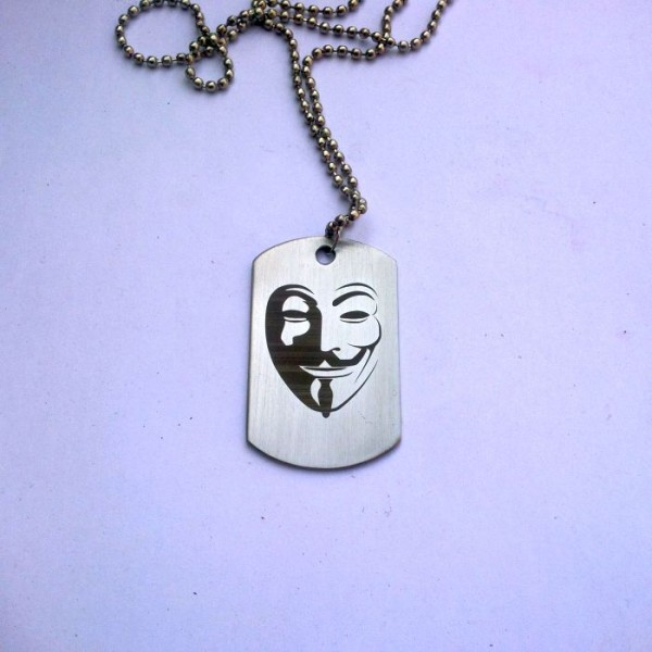 Guy Fawkes Stainless Steel Tag Pendant