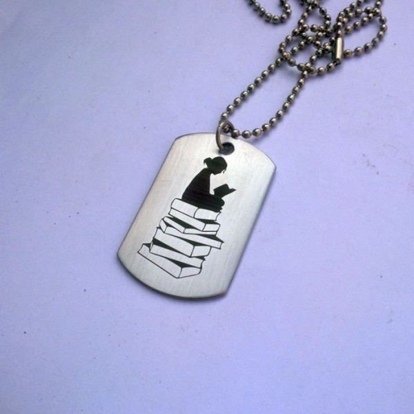 Book Lovers Stainless Steel Tag Pendant