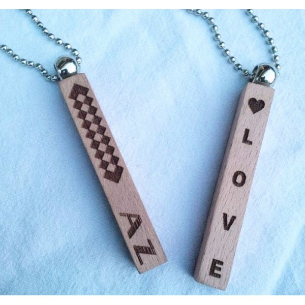 Personalized Wooden Bar Pendant with Ball Chain