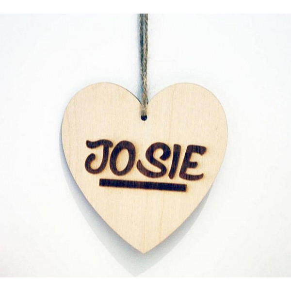 Personalised Wooden Heart Hanging with String-with any name or text