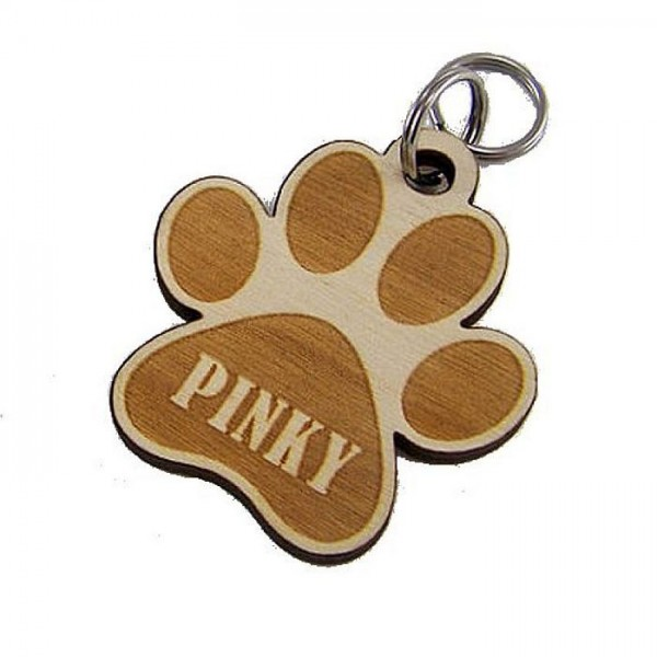 Laser Cut Hard Wood Dog Paw Tag with your Pet Name