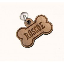 Customised Laser Cut Hard Wood Dog Bone Tag with your Pet Name