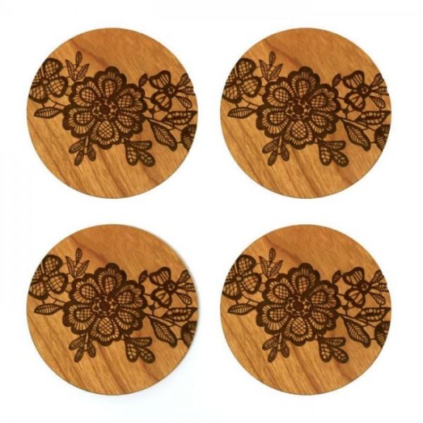 Sheesham Wood Laser Engraved Flowes Coaster - 4 Pcs