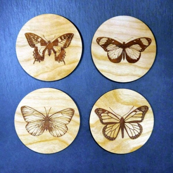Laser Engraved Butterfly Wooden Coaster - 4 Pcs