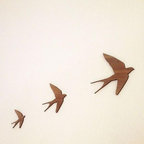 Pack of 3 Laser Cut Wooden Birds Wall Decor