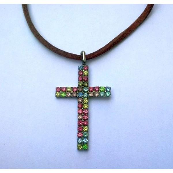 Multi Shaded Rhinestone Crucifix Necklace