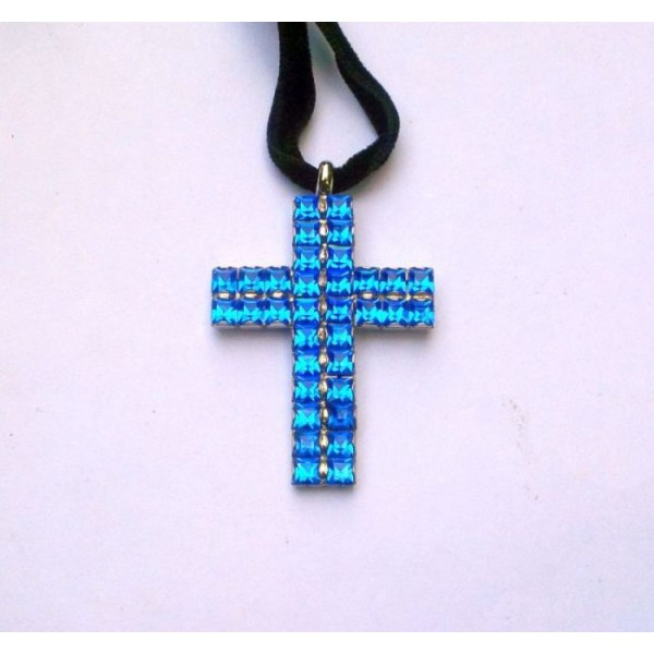 Double Blue Square Rhinestones Cross Necklace