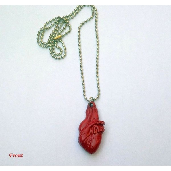 Cute Human 3D Heart Necklace with Ball Chain