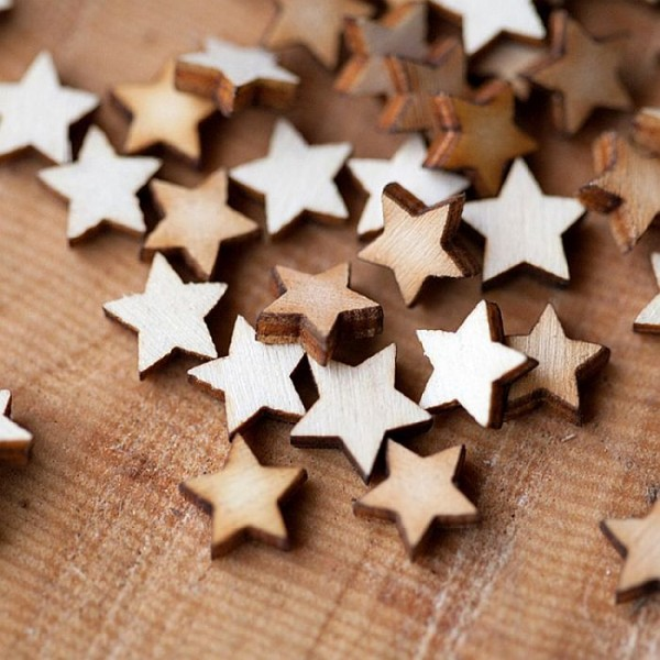 Pack of 50 Laser Cut Wooden Stars Small- Size one inch