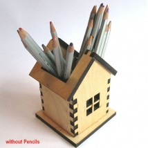 Laser Cut Wooden House Shaped Pen Holder