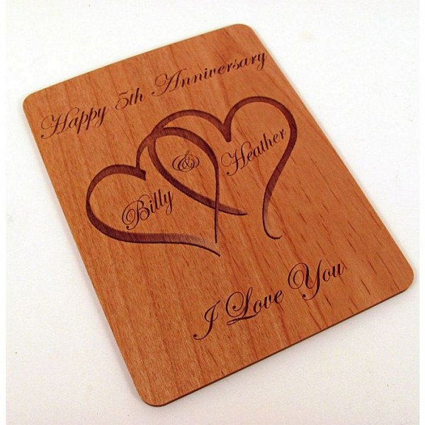 Laser Engraved Wooden Anniversary Greeting Card - Personalised