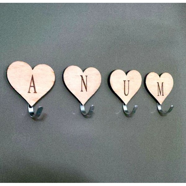 Personalised Laser Engraved Heart Shaped Wall Hooks