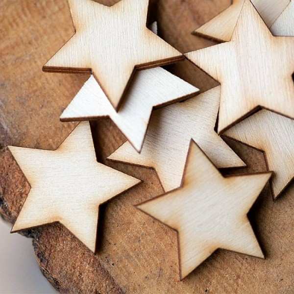 Laser Cut Wooden Stars Large-Pack of 20- Size 2 inch star