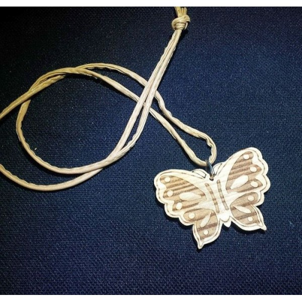 Laser Engraved Wooden Butterfly Pendant