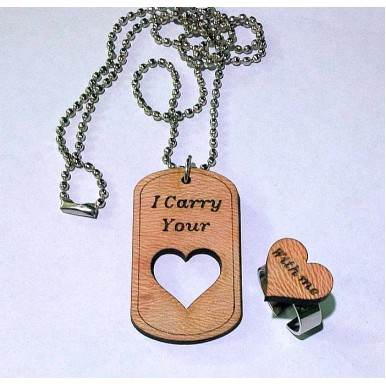 I carry your heart with me Tag Necklace and Ring Set
