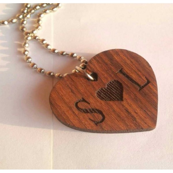 Wooden Heart Pendant with Personalized Name