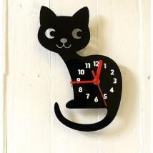 Cute Black Cat Clock for Kids Room