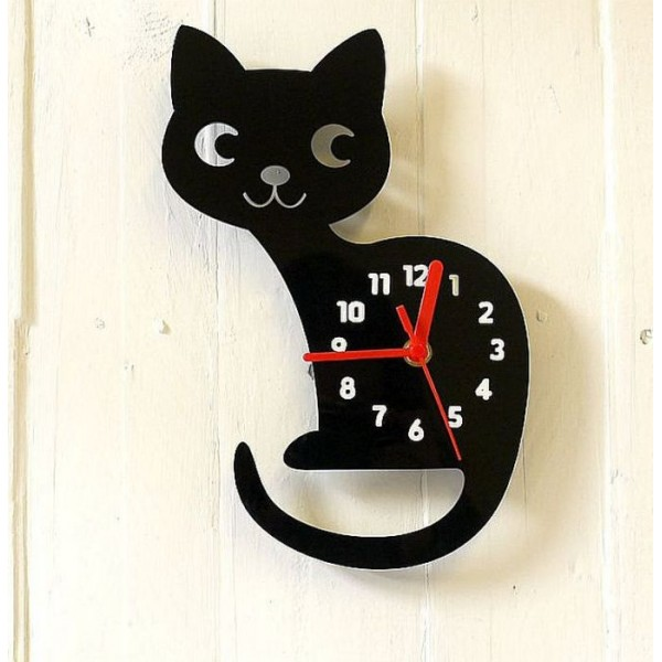 Cute Black Cat Clock for Kids Room