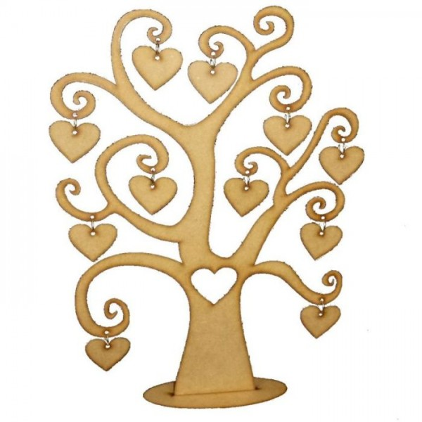 Wooden Desktop or Wall Decor Family Tree with 11 Hearts