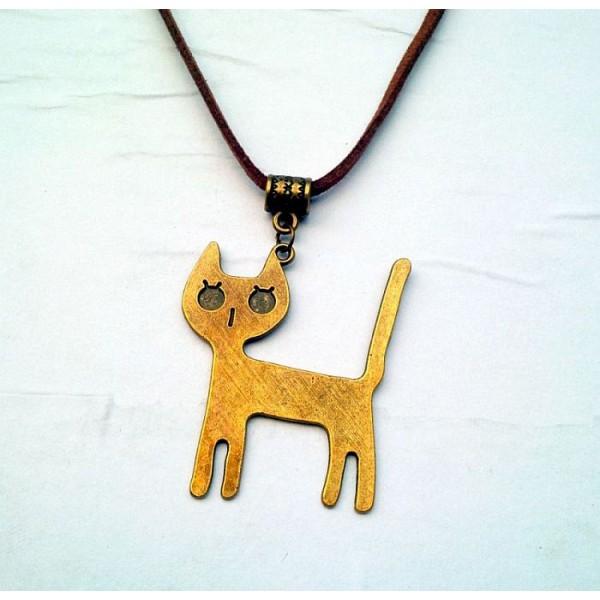 Vintage Cute Cat Antique Brass Necklace