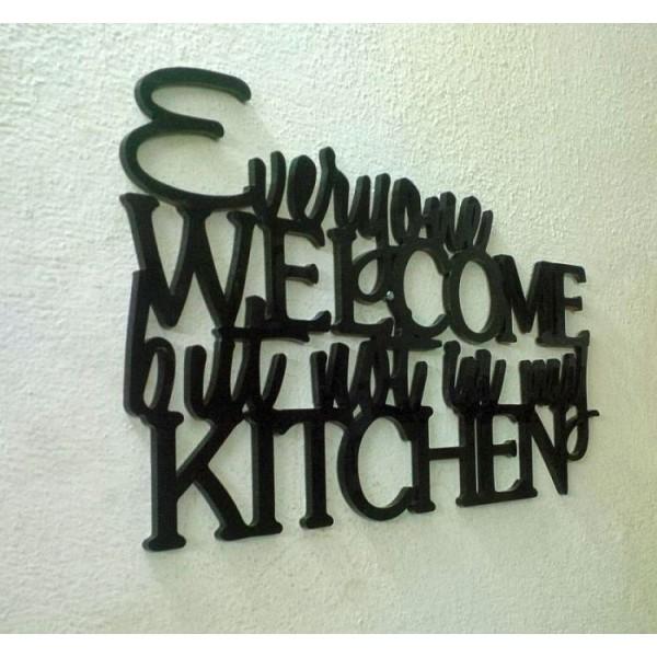 Kitchen Wall Decor Laser Cut Black Acrylic
