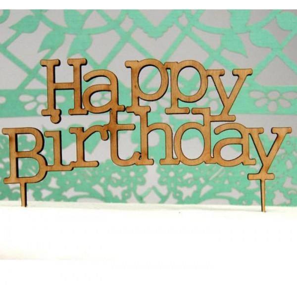 Laser Cut Wooden Happy Birthday Cake Topper