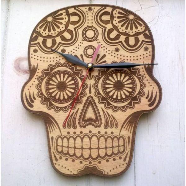 Laser Engraved Sugar Skull Clock