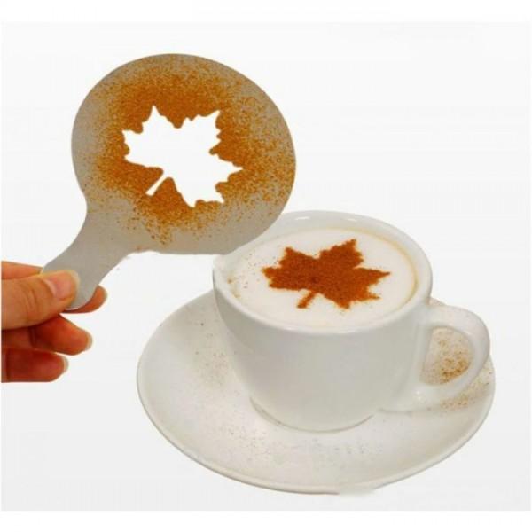 6Pcs/set Cappuccino Coffee Chocolate Stencil Duster Templates