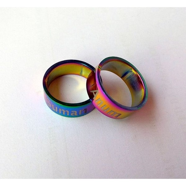 Laser Engraved Personalised Multi Shaded Ring