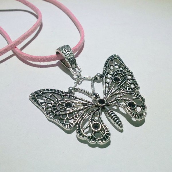 Antique Silver Butterfly Pendant with Leather Chain
