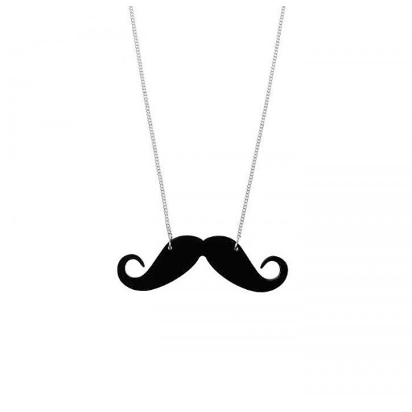 Mustache Necklace With Metal Chain