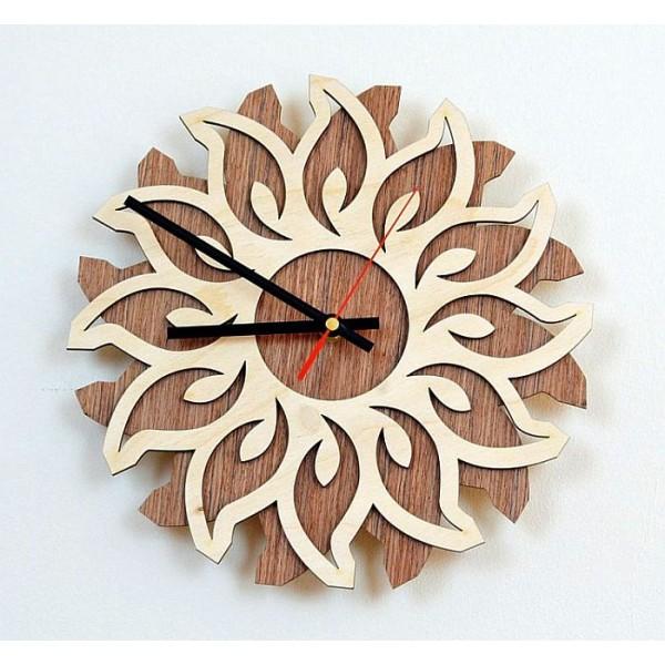 Flower Shaped Wooden Wall Clock