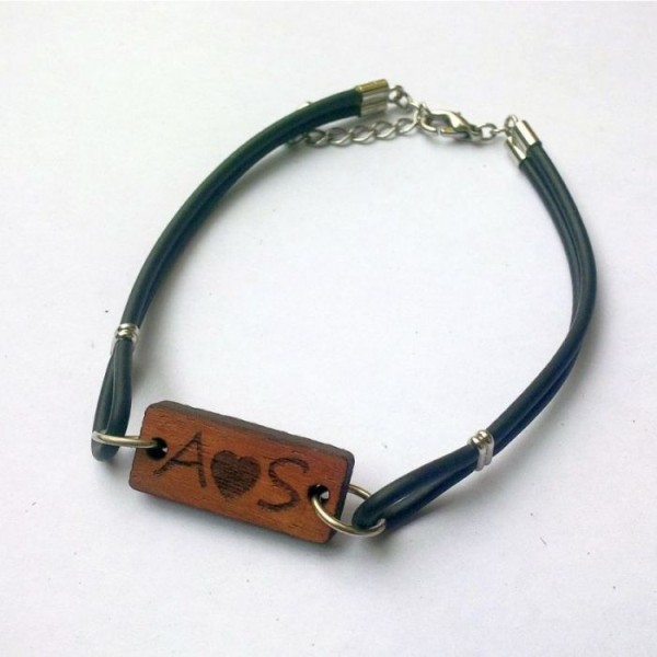 Personalised Wooden Tag PU Leather Bracelet