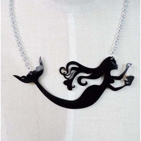 Mermaid Necklace with Metal Chain