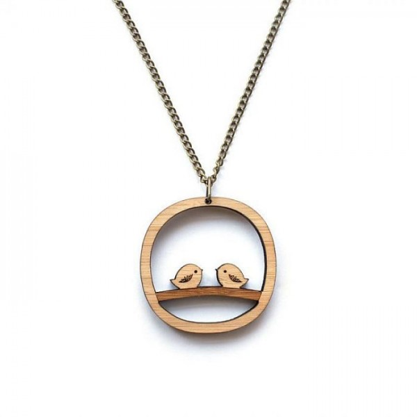 Cute Birds Wooden Pendant with Metal Chain